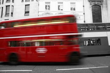 Foto op Canvas Rood, zwart, wit London Route Master Bus