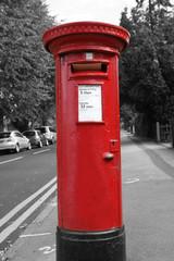 Foto op Canvas Rood, zwart, wit Red Post Box