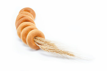 Bakery products. Bagels on a white background.