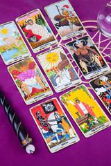 Tarot cards with a magic ball and magic wand (7).