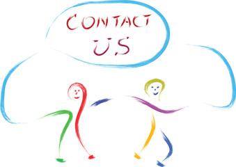 kids playing with contact us sign