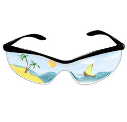 Summer sunglasses with the reflection of a tropical island