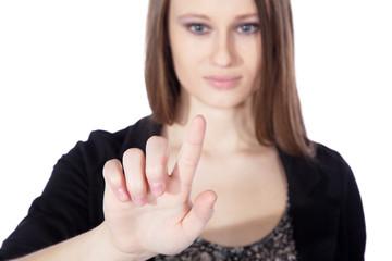 Junge Frau berührt Touch Screen