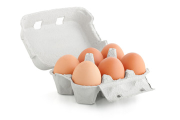 carton box with six eggs isolated on the white background