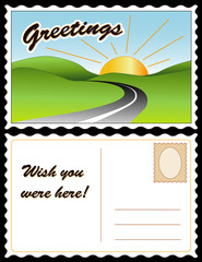 Retro Travel Postcard, sunny country landscape, road, greetings
