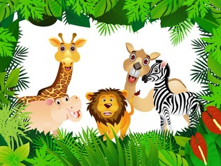 Poster Forest animals funny animal collection