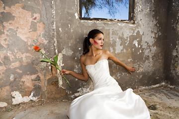 Bride in grunge setting