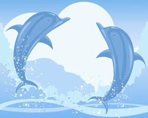 Fond de hotte en verre imprimé Dauphins dolphin jump