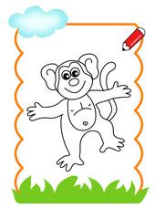 pagina da colorare, scimmia