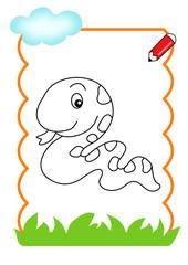pagina da colorare, serpente
