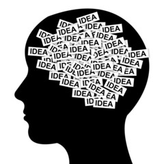 Business Idea Concept in Brain Isolated on White Background