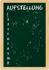 Tafel mit Mannschaftsaufstellung, freier Textraum