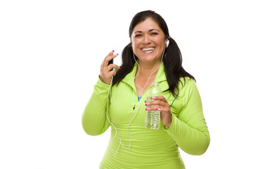 Hispanic Woman In Workout Clothes, Music Player and Headphones
