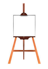 Blank art board, wooden easel, front view, isolated on white