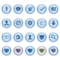 Blue web icons set 12