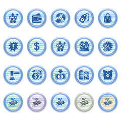 Blue web icons set 16