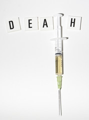 death text with syringe