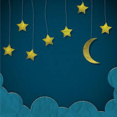 Fototapete - Moon and stars made from paper