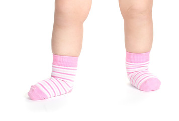 Baby feet fin socks isolated on white