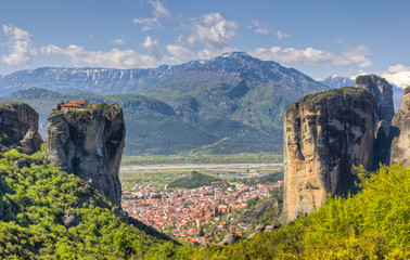 View of Kalambaka and Agia Triada Monastery from Meteora, Greece