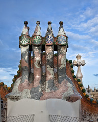 The decorated roof. Casa Batllo.Barcelona. Antonio Gaudi.