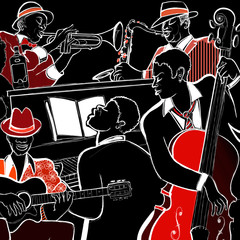 Printed roller blinds Music Band jazz band