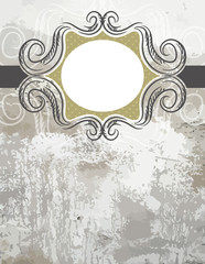 grunge black background with decorative  labels , vector