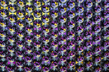 glass bead matrix refracting colorful flowers