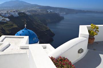 Santorini island and the Fira city in Greece
