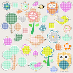 Set of nature textile stickers - scrapbook label