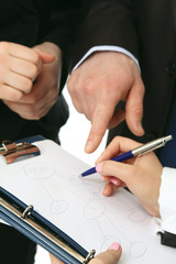 Teamwork, focus on business people's hands