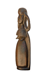 Kenya wood carving of Turkana woman isolated side view