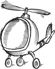 Cute Doodle Sketch Helicopter Vector Illustration