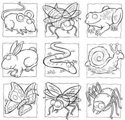 cartoon small animals and insects