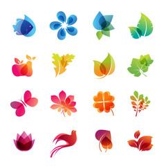 Colorful nature icon set