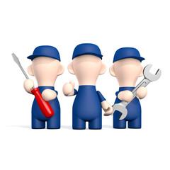 Drei Handwerker mit Werkzeugen