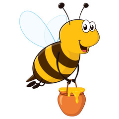 Vector happy bee flying with a brimful jar of delicious honey