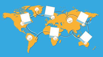 World map illustration with photos