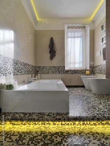 Vasca da bagno in bagno moderno e mosaico immagini e fotografie royalty free su - Bagno moderno mosaico ...