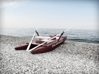 Rescue lifeguard boat on the beach