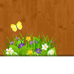 Wood Background With Leaves And Flower