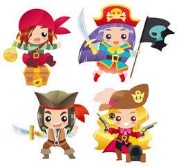 Foto op Plexiglas Piraten Cartoon pirates Set 1