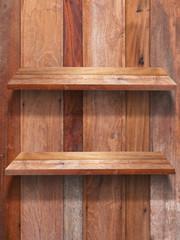 Wall Mural - Two wood shelf fixing on panelwood