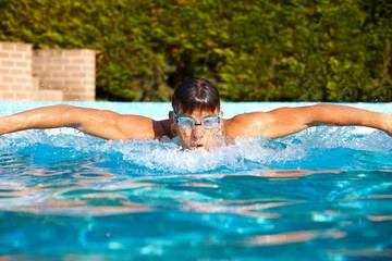 Male swimmer in swimming pool