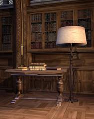 Stolik z książkami w starej bibliotece