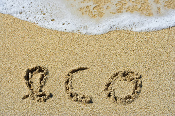 The word eco handwritten in sand on a beach