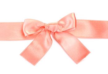 beautiful orange satin bow and ribbon isolated on white.