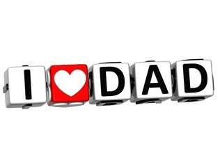 3D I Love Dad Crossword Block text