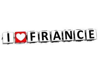 3D Love France Button cube text
