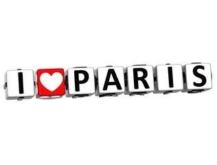 3D Love Paris Button cube text